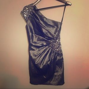 Jessica McClintock One Shoulder Mini Dress